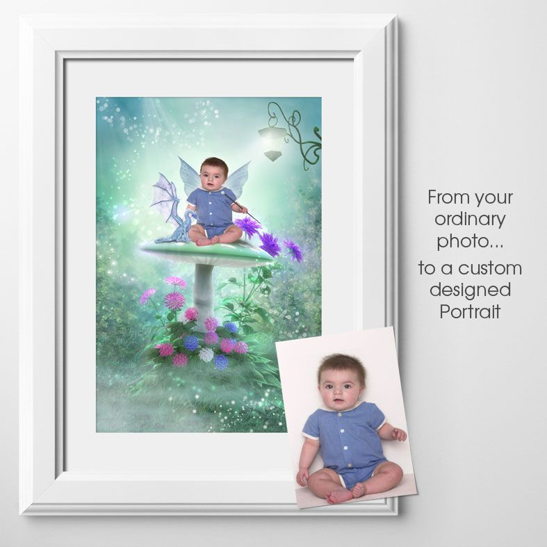 Dragons and Fairies, fairy tale fantasy image created from your own photo into unique personalised portrait and bespoke wall art | PhotoFairytales