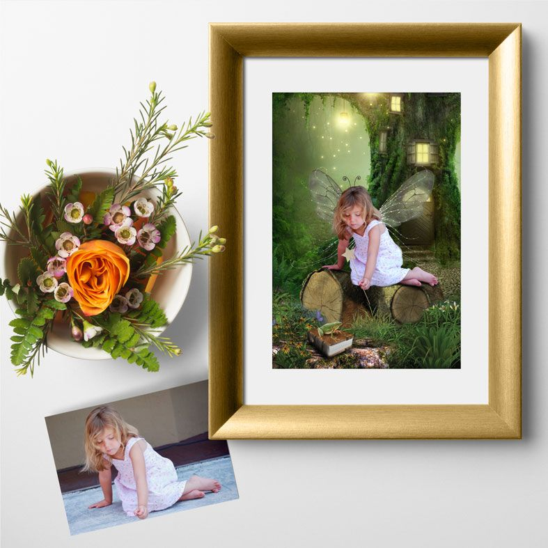 The Naughty Fairy, fairy tale fantasy image created from your own photo into unique personalised portrait and bespoke wall art   PhotoFairytales