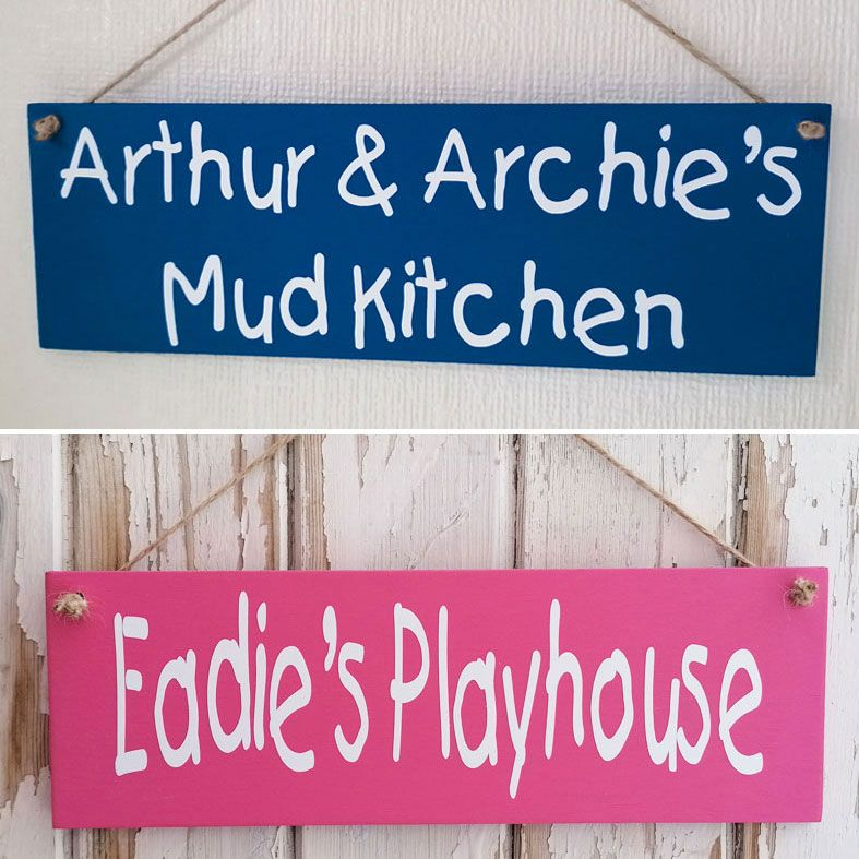 Personalised Children's Mud Room and Playhouse Garden Signs | Handmade and personalised wooden outdoor plaques made to order, range of colours, from PhotoFairytales