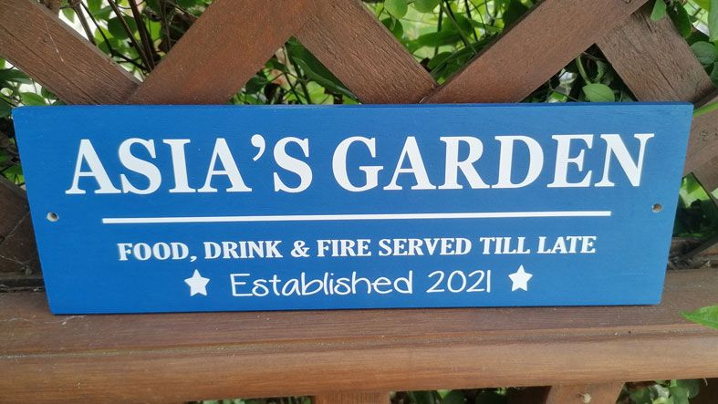 Personalised Wooden Outdoor Garden Signs   Handmade and personalised to order, range of colours, a lovely gift for your garden or home.