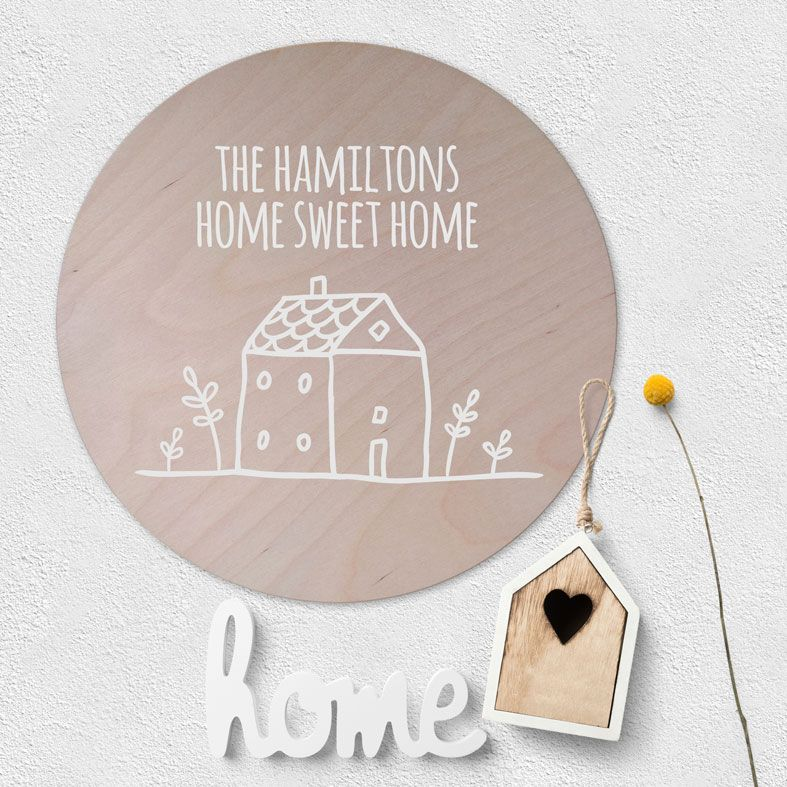 Personalised Housewarming Wooden Circle Plaque | beautiful natural wood Scandi style round wall sign, new home family gift