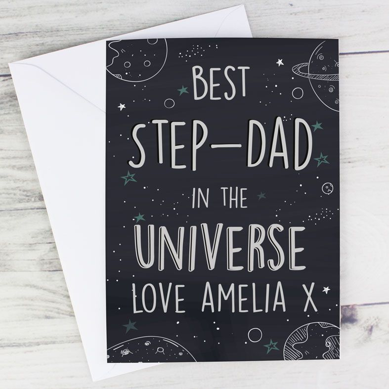 Best Dad In the Universe - Personalised Father's Day Card. Free inside printing. Fast dispatch. Free UK P&P.