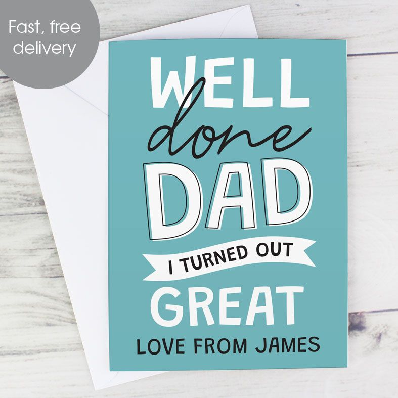 Personalised Father's Day Card. Free inside printing. Fast dispatch. Free UK P&P.