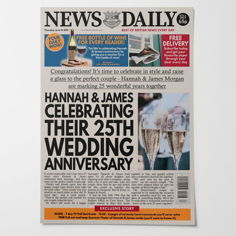 Personalised Anniversary Newspaper Couple of the Year | PhotoFairytales
