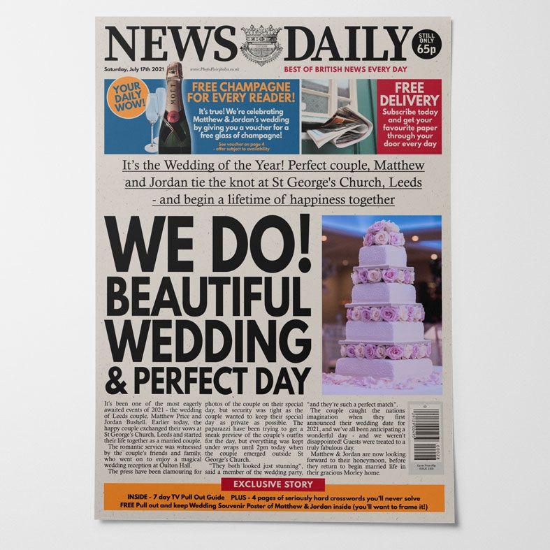 Personalised Wedding Newspaper    PhotoFairytales