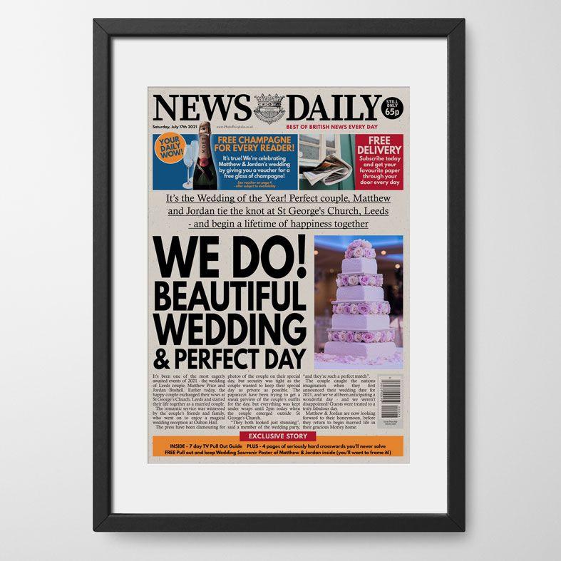 Personalised Wedding Newspaper   personalised newspaper gift from PhotoFairytales