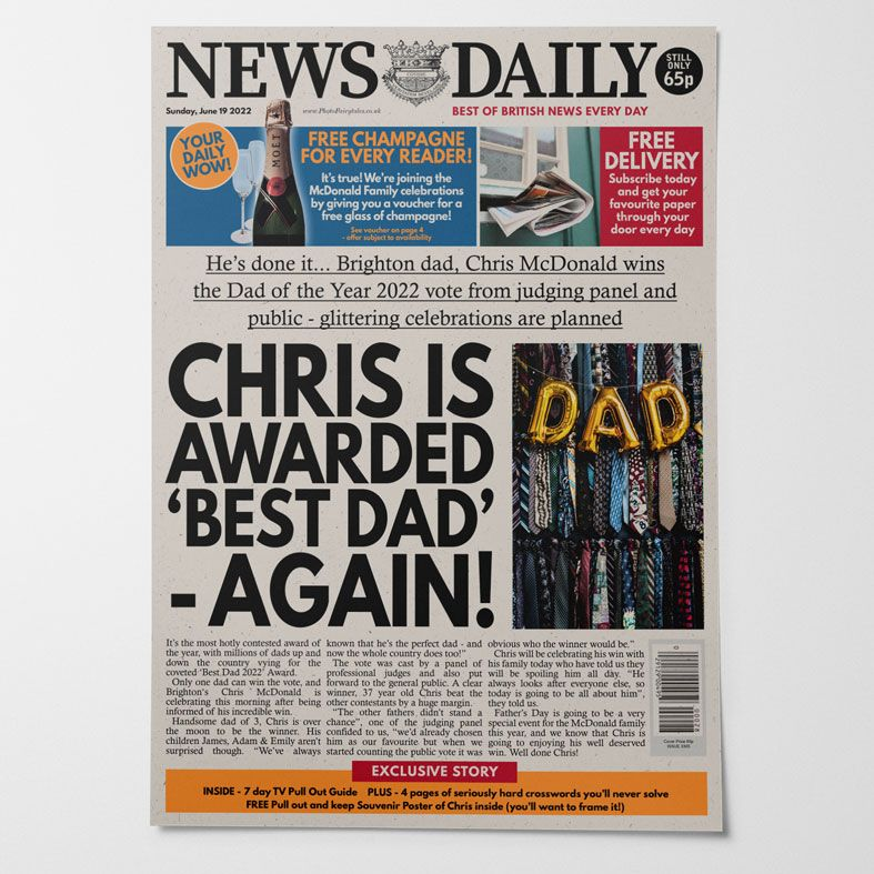 Personalised Fathers Day Newspaper   personalised newspaper gift for dad from PhotoFairytales