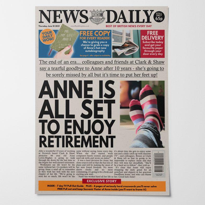 Personalised Retirement Newspaper  | PhotoFairytales