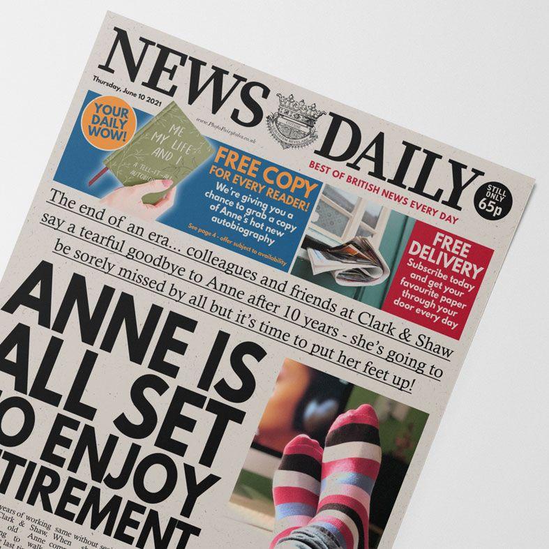Personalised Retirement Newspaper | personalised newspaper gift from PhotoFairytales