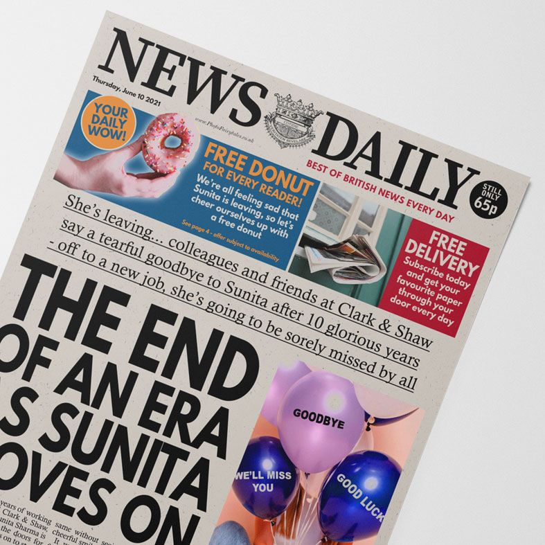 Personalised Leaving Job Newspaper Gift   personalised newspaper gift for colleague from PhotoFairytales