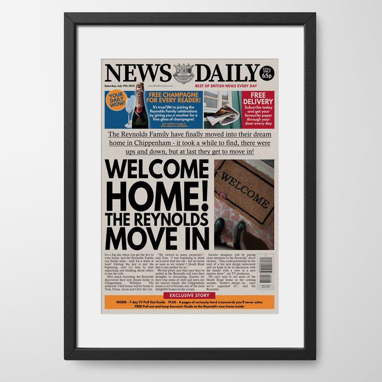 Personalised Housewarming Newspaper | personalised new home moving newspaper gift from PhotoFairytales