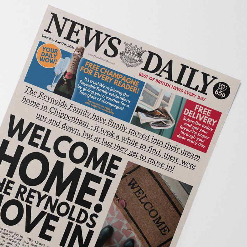 Personalised Housewarming Newspaper   personalised new home moving newspaper gift from PhotoFairytales