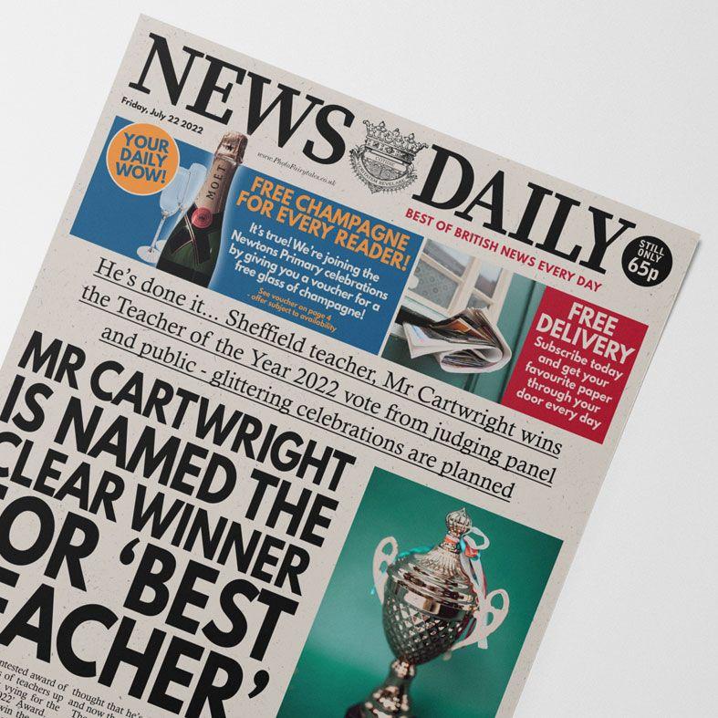 Personalised Best Teacher Newspaper   personalised end of term newspaper gift from PhotoFairytales