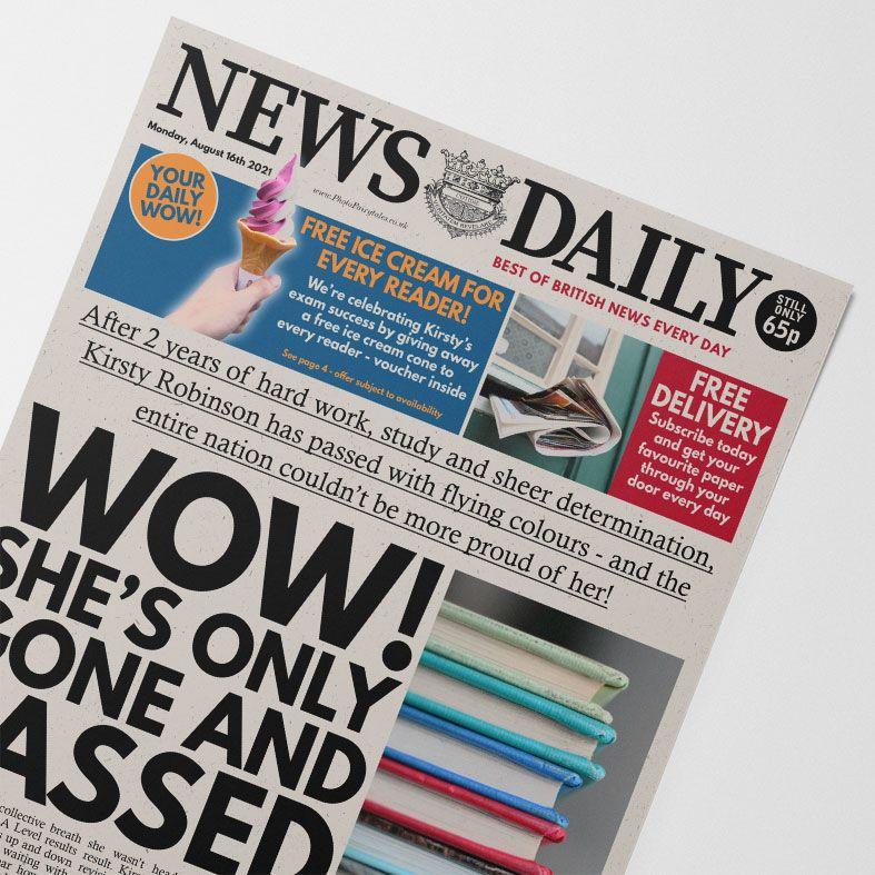 Personalised Exam Pass Graduation Newspaper   personalised newspaper gift from PhotoFairytales