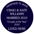 Personalised spoof blue heritage plaques wedding gift