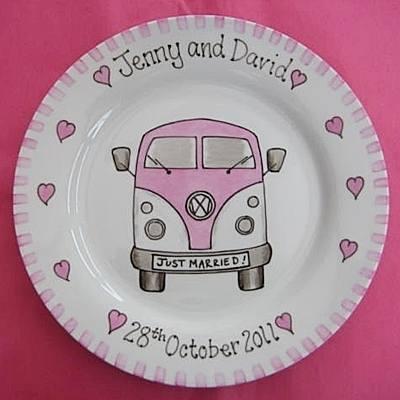 Camper Van handmade wedding gift plate