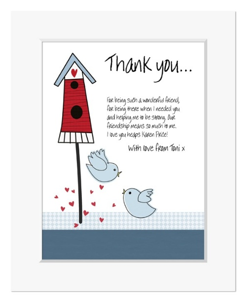 Two Birds personalised message print gift