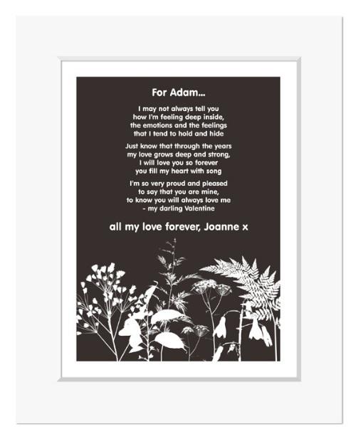 Nature personalised romantic love poem print