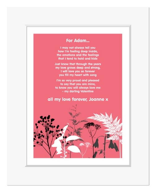 Nature personalised romantic love poem gift