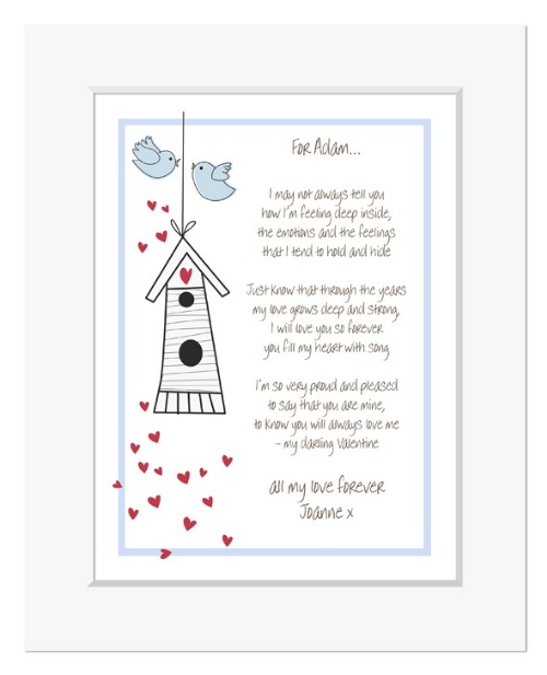Love Birds romantic personalised love poem print