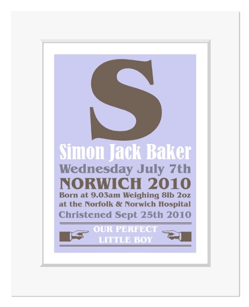 Poster personalised word art name christening gift