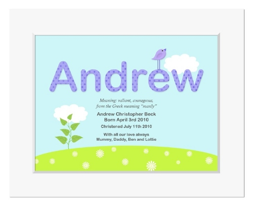 Summer personalised meaning of name christening gift
