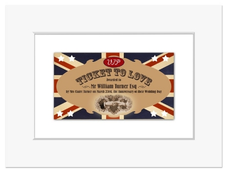 Personalised Ticket to Love print