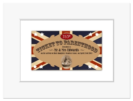 Ticket to Parenthood personalised new parents gift