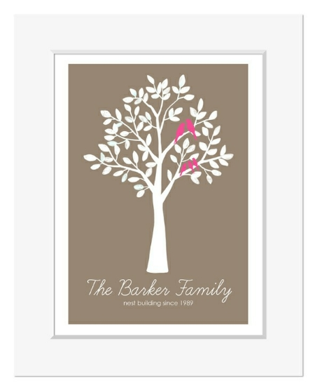 Family personalised tree print