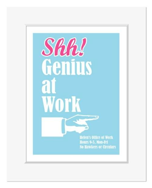 Genius at Work personalised office print