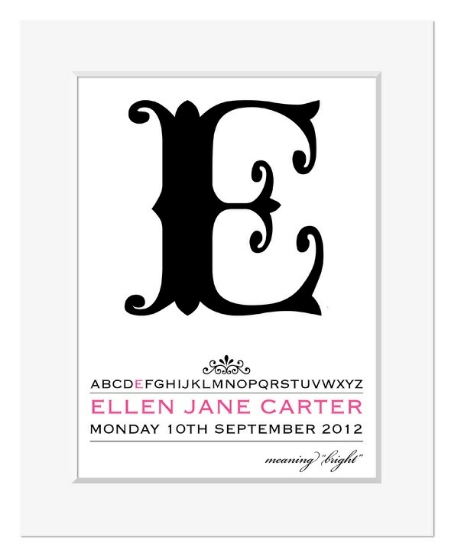 Alpha personalised name print christening gift
