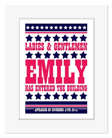 Elvis has entered the building personalised name christening print