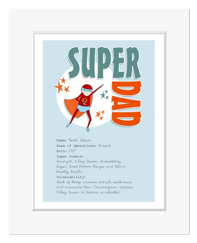 Super Dad superhero personalised print