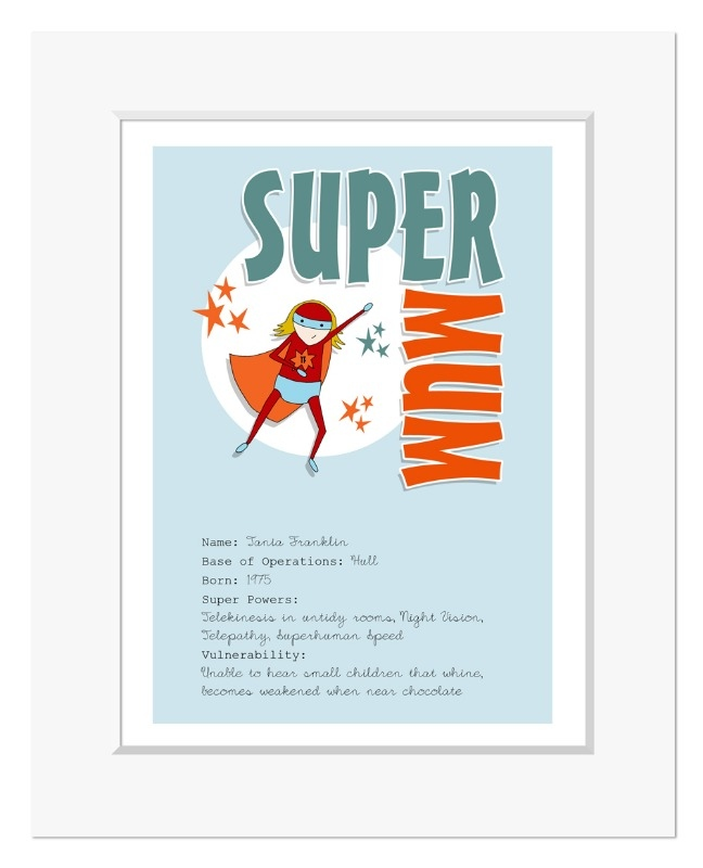 Super Mum superhero personalised Mother's Day gift print