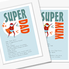 Superhero Personalised Prints Mother's Day Father's Day gift