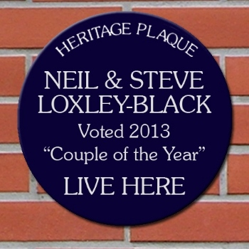 Personalised Blue Heritage Plaque couple of the year mr & mr gift