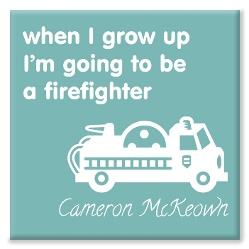 Firefighter personalised canvas print