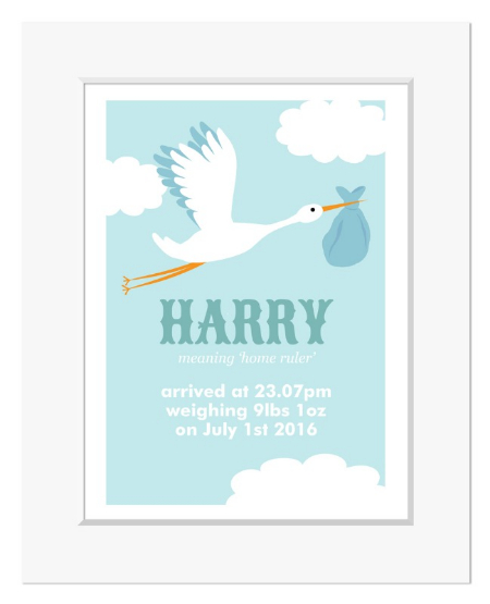 Stork personalised name meaning new baby print