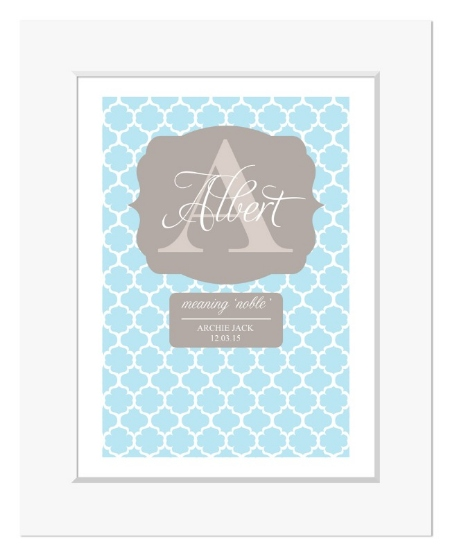 Preppy personalised monogram name print christening gift