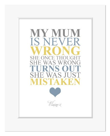 Mum is Never Wrong Mothers Day personalised print