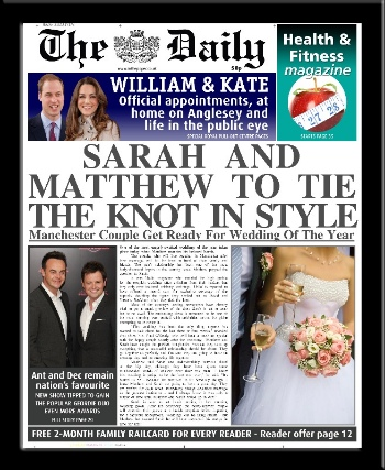 Wedding personalised newspaper gift