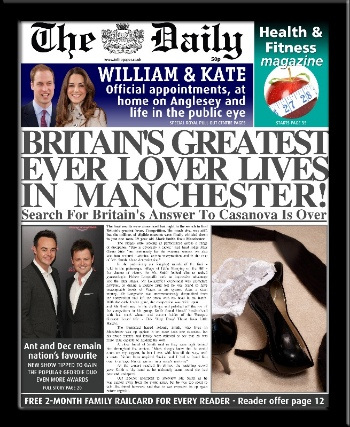 Valentine gift personalised newspaper Britain's greatest lover