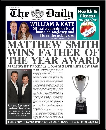 Father's Day personalised newspaper gift Father of the Year