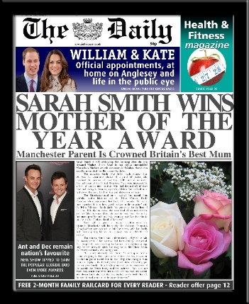 Personalised Mother of the Year Newspaper | personalised newspaper gift for mum from PhotoFairytales