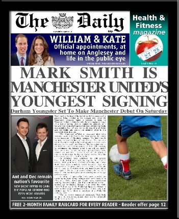 Football personalised newspaper gift