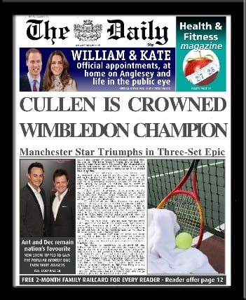 Womens Tennis personalised newspaper gift Wimbledon