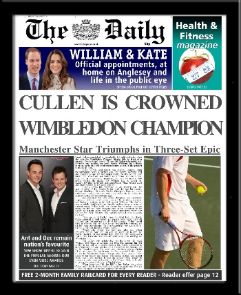 Tennis personalised newspaper Wimbledon Champion