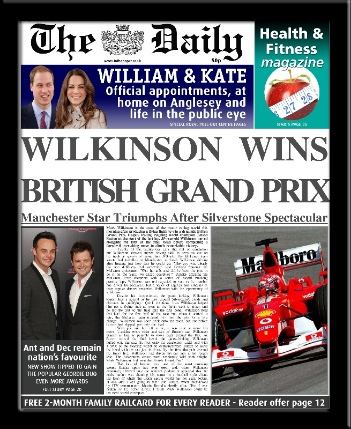 Formula 1 personalised newspaper F1 gift
