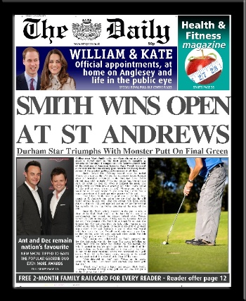 Golf personalised newspaper gift St Andrews