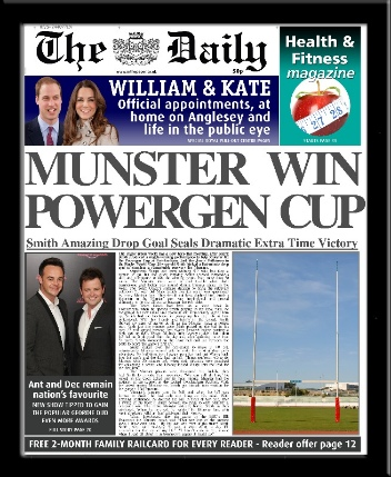 Personalised Rugby Union Newspaper | personalised newspaper gift from PhotoFairytales